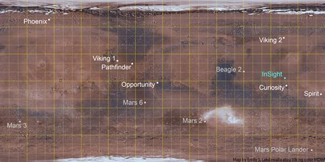 Map of all Mars landing sites, failed and successful | The