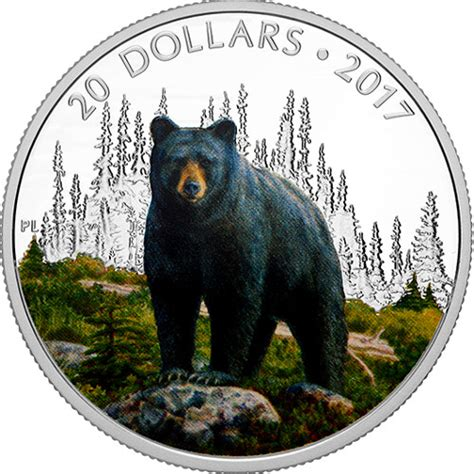 2017 1 oz Proof Silver Canadian Bold Black Bear Coins
