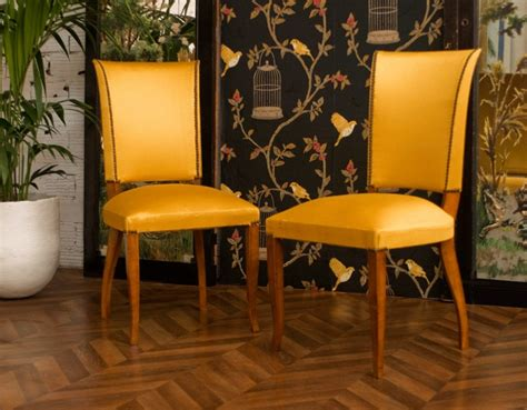 vintage chairs, art deco chairs, 1950, wood, yellow